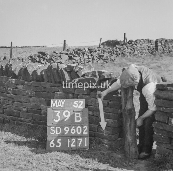 SD960239B, Man marking Ordnance Survey minor control revision point with an arrow in 1950s
