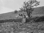 SD970005B, Man marking Ordnance Survey minor control revision point with an arrow in 1950s