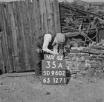 SD960235A, Man marking Ordnance Survey minor control revision point with an arrow in 1950s