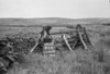 SD980294B, Man marking Ordnance Survey minor control revision point with an arrow in 1950s