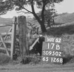 SD950217B, Man marking Ordnance Survey minor control revision point with an arrow in 1950s