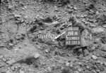 SD980184A, Man marking Ordnance Survey minor control revision point with an arrow in 1950s