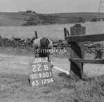 SD950122B, Man marking Ordnance Survey minor control revision point with an arrow in 1950s