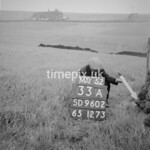 SD960233A, Man marking Ordnance Survey minor control revision point with an arrow in 1950s