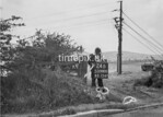 SD980024B, Man marking Ordnance Survey minor control revision point with an arrow in 1950s