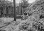 SD980098A2, Man marking Ordnance Survey minor control revision point with an arrow in 1950s