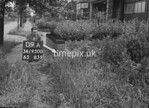SD950009A, Man marking Ordnance Survey minor control revision point with an arrow in 1950s