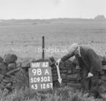 SD950298A, Man marking Ordnance Survey minor control revision point with an arrow in 1950s
