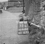 SD960272L, Man marking Ordnance Survey minor control revision point with an arrow in 1950s