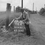 SD950116A, Man marking Ordnance Survey minor control revision point with an arrow in 1950s
