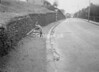 SD941111L, Man marking Ordnance Survey minor control revision point with an arrow in 1950s