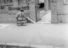 SD940949B, Man marking Ordnance Survey minor control revision point with an arrow in 1950s