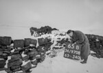 SD970865B, Man marking Ordnance Survey minor control revision point with an arrow in 1950s