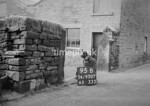 SD950795B, Man marking Ordnance Survey minor control revision point with an arrow in 1950s