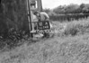 SD741112A, Man marking Ordnance Survey minor control revision point with an arrow in 1940s