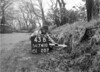 SD741043B, Man marking Ordnance Survey minor control revision point with an arrow in 1940s