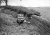 SD731279B, Man marking Ordnance Survey minor control revision point with an arrow in 1950s