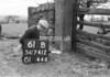 SD741261B, Man marking Ordnance Survey minor control revision point with an arrow in 1950s