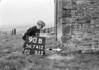 SD741290B, Man marking Ordnance Survey minor control revision point with an arrow in 1950s