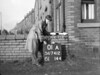 SD741201A, Man marking Ordnance Survey minor control revision point with an arrow in 1940s