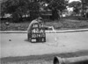 SD741042A, Man marking Ordnance Survey minor control revision point with an arrow in 1950s