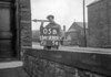 SD731105B, Man marking Ordnance Survey minor control revision point with an arrow in 1940s