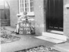 SD721186K, Man marking Ordnance Survey minor control revision point with an arrow in 1940s