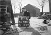 SD741391A, Man marking Ordnance Survey minor control revision point with an arrow in 1950s