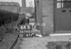 SD740564B, Man marking Ordnance Survey minor control revision point with an arrow in 1940s