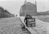 SD740546A1, Man marking Ordnance Survey minor control revision point with an arrow in 1940s