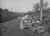 SD740586A, Man marking Ordnance Survey minor control revision point with an arrow in 1940s