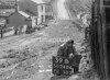 SD740439B, Man marking Ordnance Survey minor control revision point with an arrow in 1940s