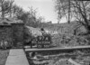SD730497A, Man marking Ordnance Survey minor control revision point with an arrow in 1940s