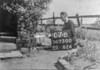 SD730007B, Man marking Ordnance Survey minor control revision point with an arrow in 1940s