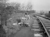 SD720270L, Man marking Ordnance Survey minor control revision point with an arrow in 1950s