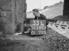 SD690733L, Man marking Ordnance Survey minor control revision point with an arrow in 1950s