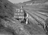 SD690773B, Man marking Ordnance Survey minor control revision point with an arrow in 1950s