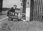 SD690774B, Man marking Ordnance Survey minor control revision point with an arrow in 1950s