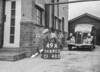 SD690549A, Man marking Ordnance Survey minor control revision point with an arrow in 1950s