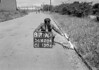 SD620487A, Man marking Ordnance Survey minor control revision point with an arrow in 1940s