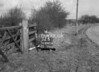 SD640432B, Man marking Ordnance Survey minor control revision point with an arrow in 1940s