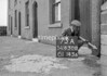 SD630873A, Man marking Ordnance Survey minor control revision point with an arrow in 1950s