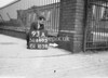 SD640593A, Man marking Ordnance Survey minor control revision point with an arrow in 1940s