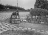 SD640482B, Man marking Ordnance Survey minor control revision point with an arrow in 1940s
