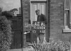 SD640447A, Man marking Ordnance Survey minor control revision point with an arrow in 1940s