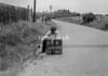 SD620469K, Man marking Ordnance Survey minor control revision point with an arrow in 1940s