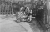 SD650150A, Man marking Ordnance Survey minor control revision point with an arrow in 1940s