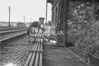 SD620278B, Man marking Ordnance Survey minor control revision point with an arrow in 1950s