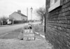 SD630399A, Man marking Ordnance Survey minor control revision point with an arrow in 1950s