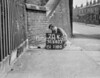 SD640370K, Man marking Ordnance Survey minor control revision point with an arrow in 1940s
